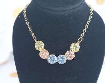 VIntage Crescent Swarovski Crystal Necklace