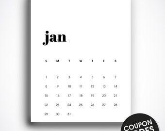 Wall calendar 2017 printable, calendar 2017, letter size, printable monthly calendar, wall calendar pdf, january 2017, minimalist calendar