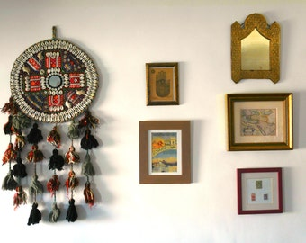 Traditional Anatolian wall hanging - Natural wool and Felt, ancient turkish fabric - Amulet against the evil eye