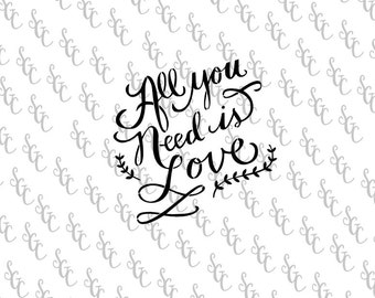 Reusable Stencil - All you Need is Love - Many Sizes to Choose from!