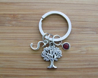 Tree Life Key Chain, Personalized Key Chain, Initial Charm, Birthstone Key Chain, Purse Accessories, Mother's Day Gift, Birthday Gift