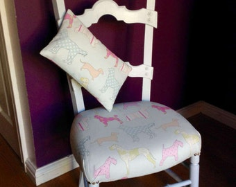 Vintage French farmhouse chair upcycled into a painted child's chair.