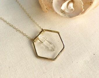 Hexagon quartz pendant