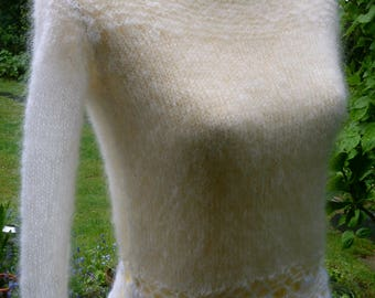 Knitting-Crochet sweater, white, with mohair, size 36-38 (S-m)