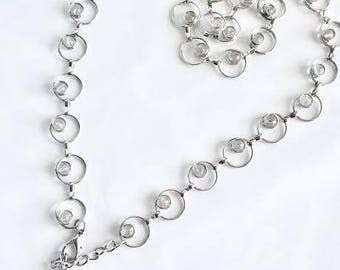 Vintage Silver-tone Chain Belt Circle Link Lucite Balls- Adjustable, Silver Chain Belt, Vintage Chain Belt, 90s Silver Chained Belt