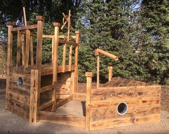 Kids Pirate boat climbing FrameMaker from recycled wood with pressure treated frame