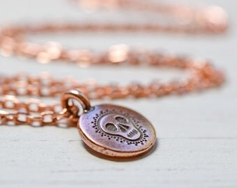 Copper Skull Necklace, Meditation Necklace, Day of the Dead Charm Yoga Necklace, Spiritual Jewelry Bright Copper Chain Sugar Skull Jewelry