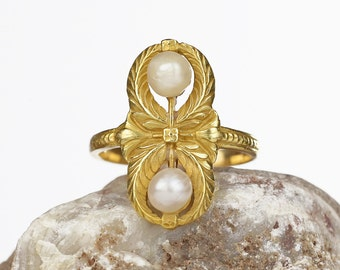 Antique Ring - 22k Gold French Napoleon III Empire Natural Pearl Victorian Ring, Antique Jewelry Victorian Jewelry Statement size 7