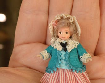Miniature Doll Polymer  Clay Girl 1:24 Scale Miniatures Collectible Miniature Dollhouse Dollhouse child  Realistic Miniature Dolls Tiny Doll