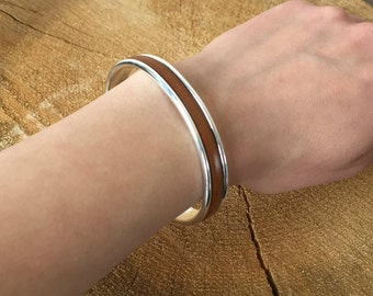 Silver Rigid Cuff Bracelet with Genuine Brown Leather