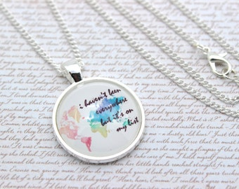 I Haven't Been Everywhere But It's On My List, Rainbow World Map Necklace, Travel Necklace or Keychain, Keyring