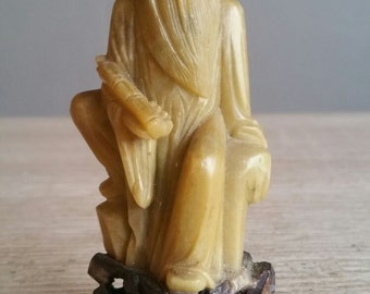 Chinese Soap Stone Carved Sculpture Wise / Sage | 20th Century
