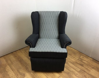 Grey Patterened Wing Chair