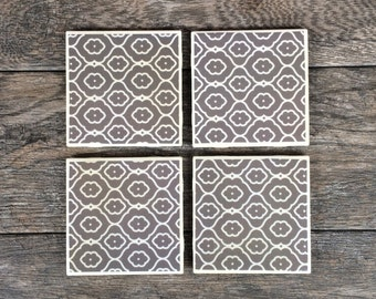 Gray and White Patterned Coasters