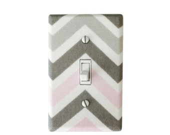 Pink Chevron Light Switch Plate-Pink Grey  Switch Cover-Girls Bedroom-Chevron Outlet Cover - Chevron Nursery Decor-Madison Premier Prints
