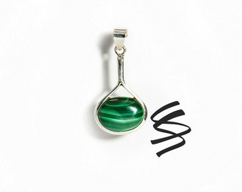 Malachite .925 Sterling Silver Necklace Malachite Sterling Silver Pendant Malachite Silver Charm Malachite Green Gemstone Malachite Stone
