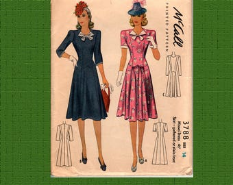 "McCall 3342 1940 Misses Dress Pattern, 32"" bust, complete, used gently"