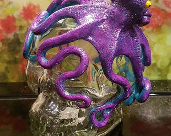 Handsculpted Octopus Glass Skull Bottle Collectible/OOAK/Beach Cottage Deco/Nautical/Sea Creature/Steampunk/Tattoo/Tentacle/[LSO001]