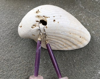 Purple and Pale Pink Cylinder Drop Earrings
