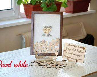 Personalized wedding gift Rustic guest book wedding alternative Happily ever after Unique wedding guest book Wooden guestbook Heart drop box