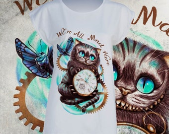 T- shirt Cheshire Cat Alice in wonderland Rabbit hole Stregatto