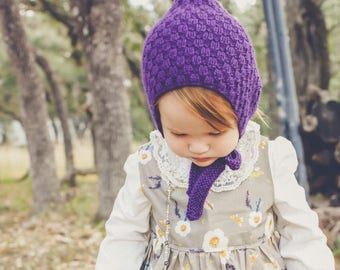 THE QUINN BONNET, pixie bonnet, pixie hat, knit bonnet, toddler bonnet, baby bonnet, toddler hat, baby hat, knit hat, photo prop