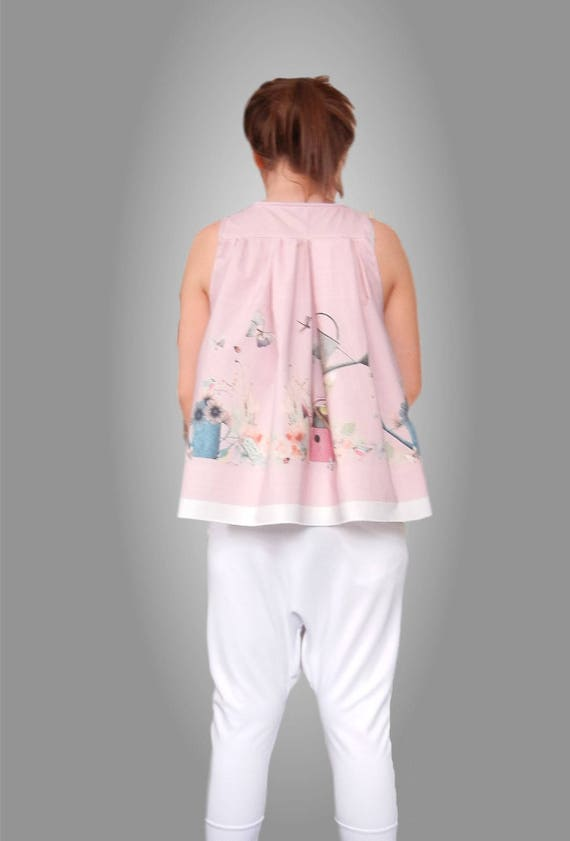 Spring Summer Loose Fitting Tank Top / Chic Stylish Floral Fresh Top / Elegant Pink Spring Top / Maternity Top