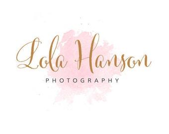 Watercolour Logo Design | Premade Logo Design | Pink Watercolour Logo | Calligraphy Logo | Gold Logo | Photography Logos and Watermarks