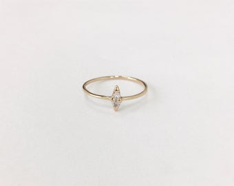 Double White Diamond, Up and Down Diamond Ring, 14K Solid Gold Ring, Engagement Ring
