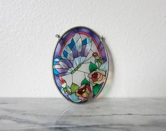 Vintage Butterfly Suncatcher, Stained Glass Panel, Glass Ornament, Dainty, Pink, Purple, Suncatchers, Nature Lover Gift, Unicorn Colors Rose