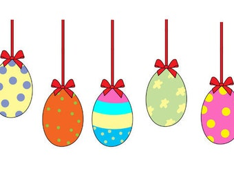 Hanging Easter Eggs Clip Art Set, Colorful Easter Eggs, Ribbons, Celebration