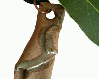 Green and brown stoneware pendant SG02