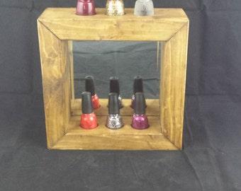 Nail Polish Display Holder - Wooden Polish Storage Nail Varnish Storage - Pamper - Spa -  Mirror- Vanity Unit-Beauty Salon