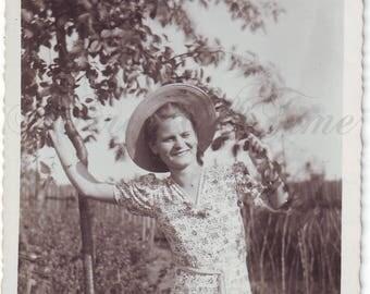 Vintage Photo - Happy time - Woman Photo - Woman by the tree - Vintage Snapshot - Polish Photo - 1940s photo - Funny woman - Trees photo