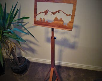 Handmade Adjustable Mahogany Music Stand