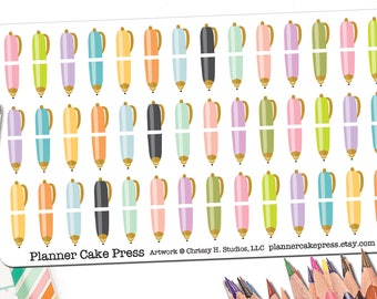 42 Ball Point Pen Stickers | Planner Stickers for Writers Gifts for Authors Writers | Writer Gift Pen Pal Planning Stickers Fits ECLP More