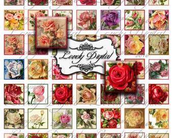 "1"" Digital Download Victorian Rose Squares Jewelry Charm Pendant Scrapbook Embellishment Printable Collage Sheet"