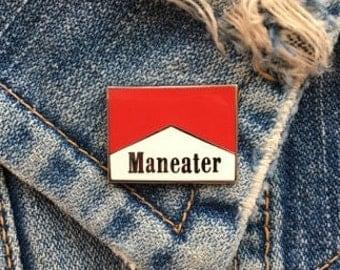 Maneater Hard Enamel Pin - Marlboro - Cigarette Pin - Pin Badge - Lapel Pin - Parody