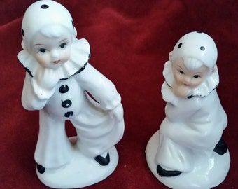 J Vazquez Imports French Pierrot Child Clown Figurines/Child Pierrot Clown Figurines/Vintage Child Clowns/Porcelain Clown Figurines/Set of 2