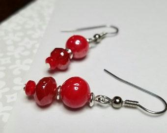 Red glass bead dangle earrings