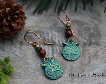 Patina Owl Earrings, Mahogany Obsidian Earrings, Charm Earrings, Beaded Earrings, Mixed Metal Earrings, Green Earrings, Verdigris Earrings
