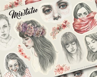 A5 Art Stickers from Original Girl Portrait Drawings