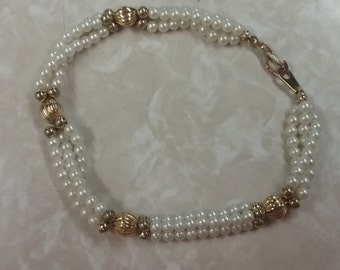 White Pearl Bracelet with Gold Accents