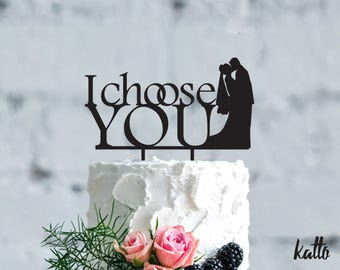 Wedding cake topper- Silhouette I choose you wedding cake topper- Personalized cake topper- wedding Gift- Bride and Groom cake topper