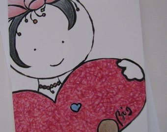 Clo - Greeting card for birthday, baby shower or other, ready to be framed for decoration