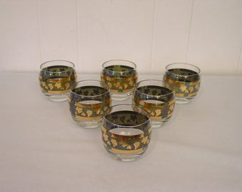 Cera glasses etsy 6 gold trim glass set cera glasses gold glasses gold grapes culver gumiabroncs Image collections