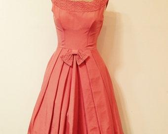 Vintage 60's Dress Apricot Faille with Guipure Lace Trim size 6-8 Designer,1960s.