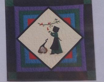Feeding My Friends Wall Quilt Sewing Pattern, 24 x 24 inches,Garden Gate Press, Hand or Machine Applique, Canadian Goose
