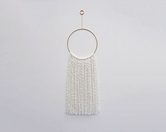 White & Brass Hoop Wall Hanging