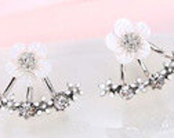 Silver Floral & Crystal Stud Earrings EA6017i